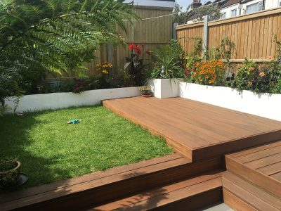 walthamstow garden decking growing gardens grass and borders